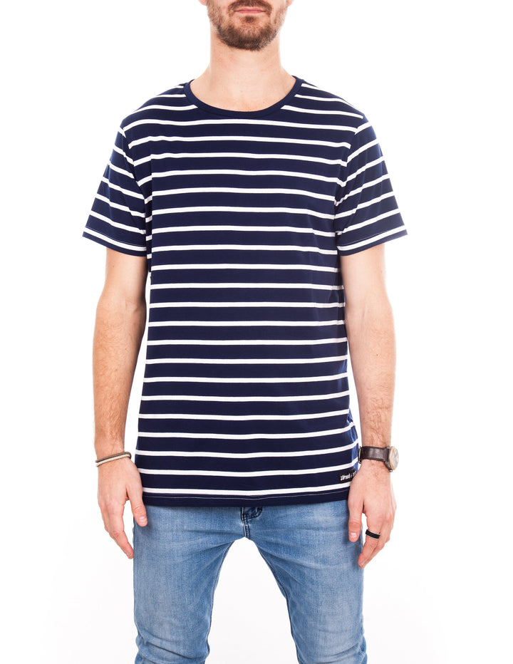 Crew Tee - Blue with White Stripe
