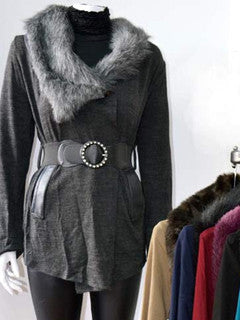 Cardigan with fake fur collar trim