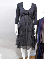 Jersey dress trimmed with silk