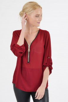 Zip- Front- Blouse