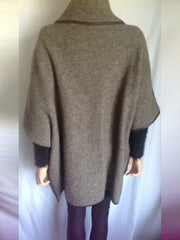 Double breasted boiled wool poncho