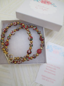 Red Elegance: A Rich In Cloisonné Necklace From Gemstrings From Phyllis & Terry | Value: $60