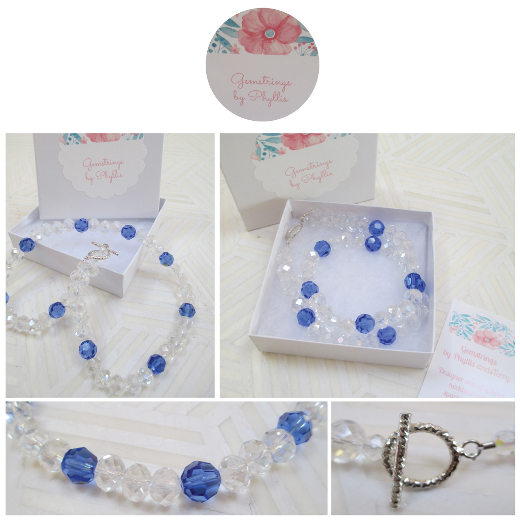 Cool Blue Hues: A Swarovski Crystal Necklace from Gemstrings by Phyllis & Terry | Value $25