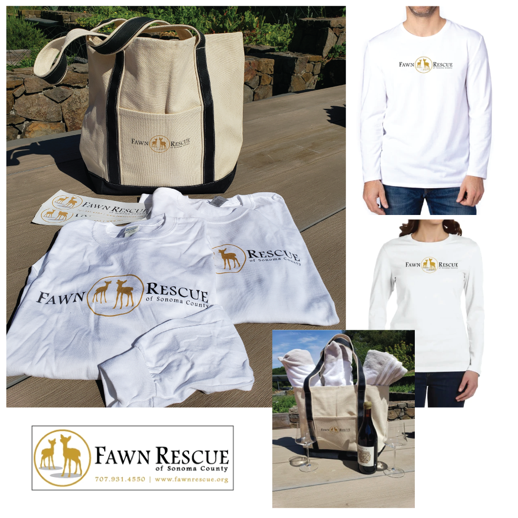 Two Fawn Rescue Long Sleeve Shirts & Bumper Stickers & A Luxe Canvas Boat Bag | Value: $140