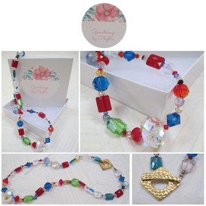 Color Explosion: A Multicolor Swarovski Crystal Necklace from Gemstrings by Phyllis & Terry | Value $50