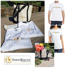 Load image into Gallery viewer, Two Fawn Rescue T-Shirts & Bumper Stickers & A Canvas Shopping Tote | Value: $110