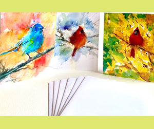 Cardinal and Indigo Bunting Notecard Set