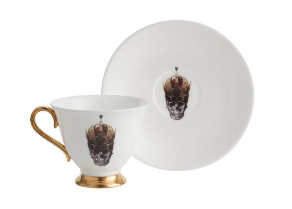 Skull in Red Crown Teacup and Saucer