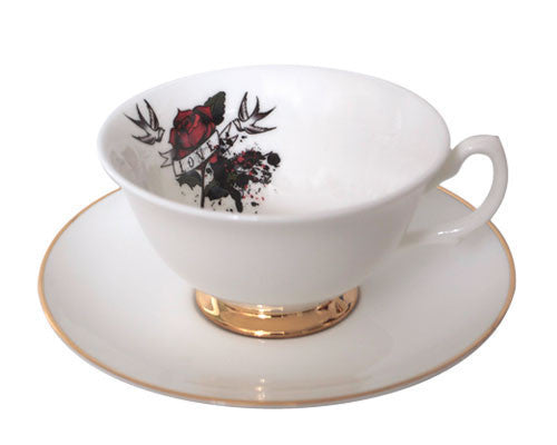 Love Hate Tea Cup & Saucer