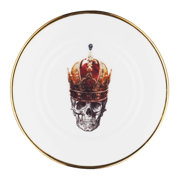 Side Plate, Skull in Red Crown Design