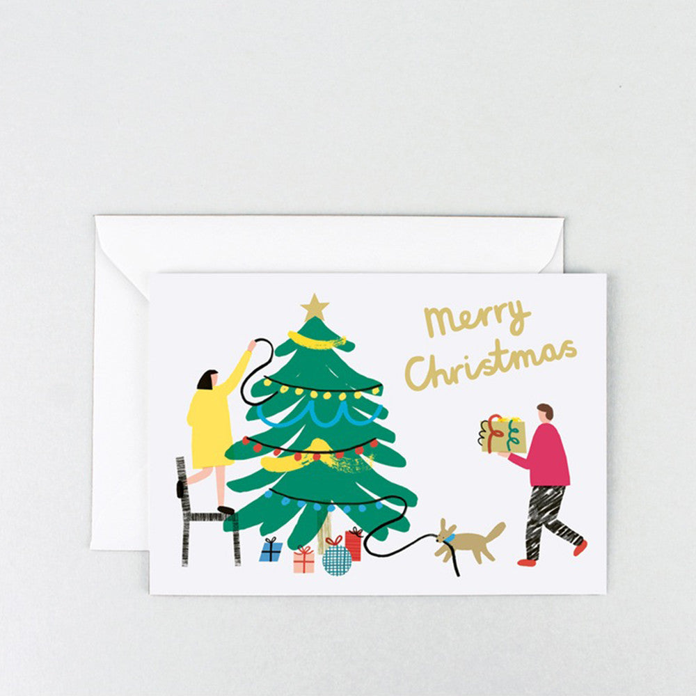 'Tree Decorating' Gold Foiled Greetings Card