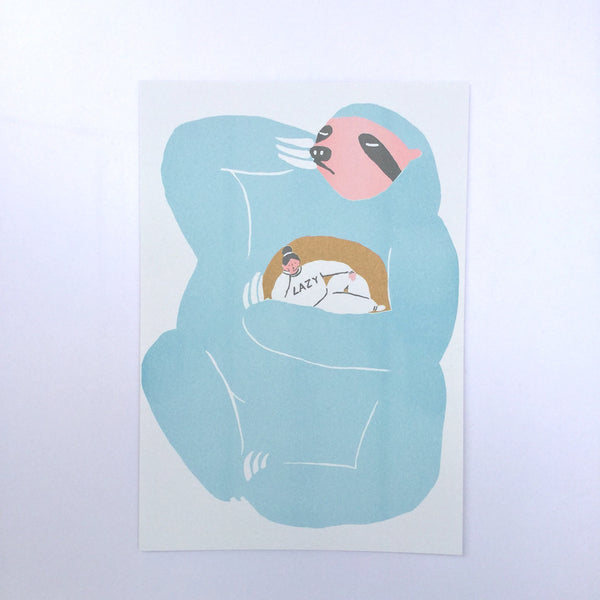 You Wish You Can Be Hug By A Sloth (Riso)