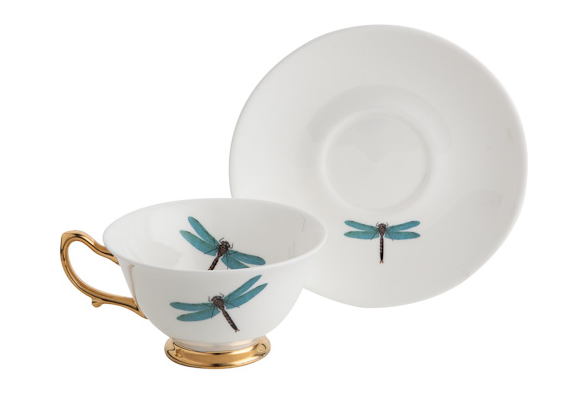 Dragonfly Bone China Tea Cup and Saucer