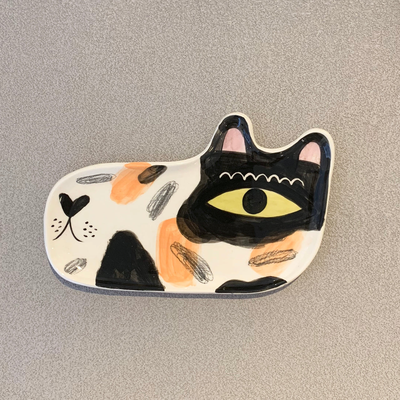 Orange and Black Cat Plate