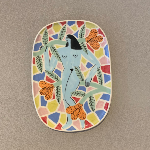 Light Blue Woman Plate