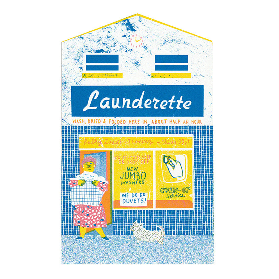 The Launderette Front Greeting Card