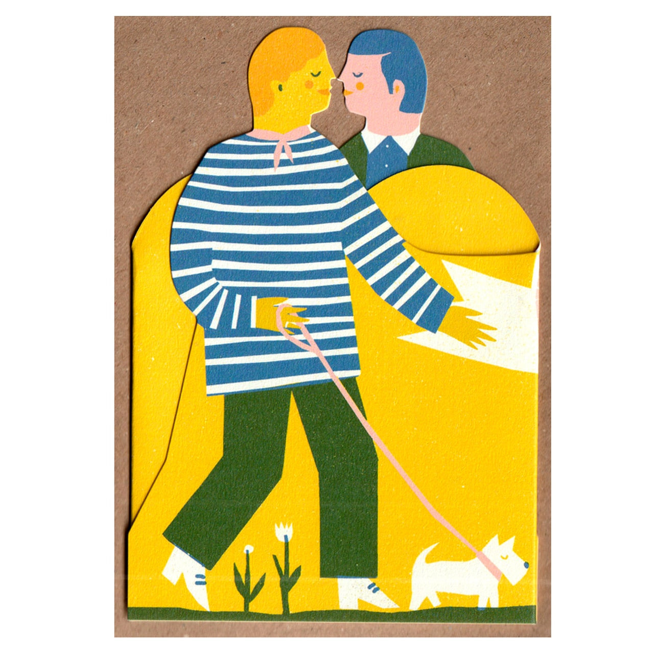 Two Men Concertina Heart Card