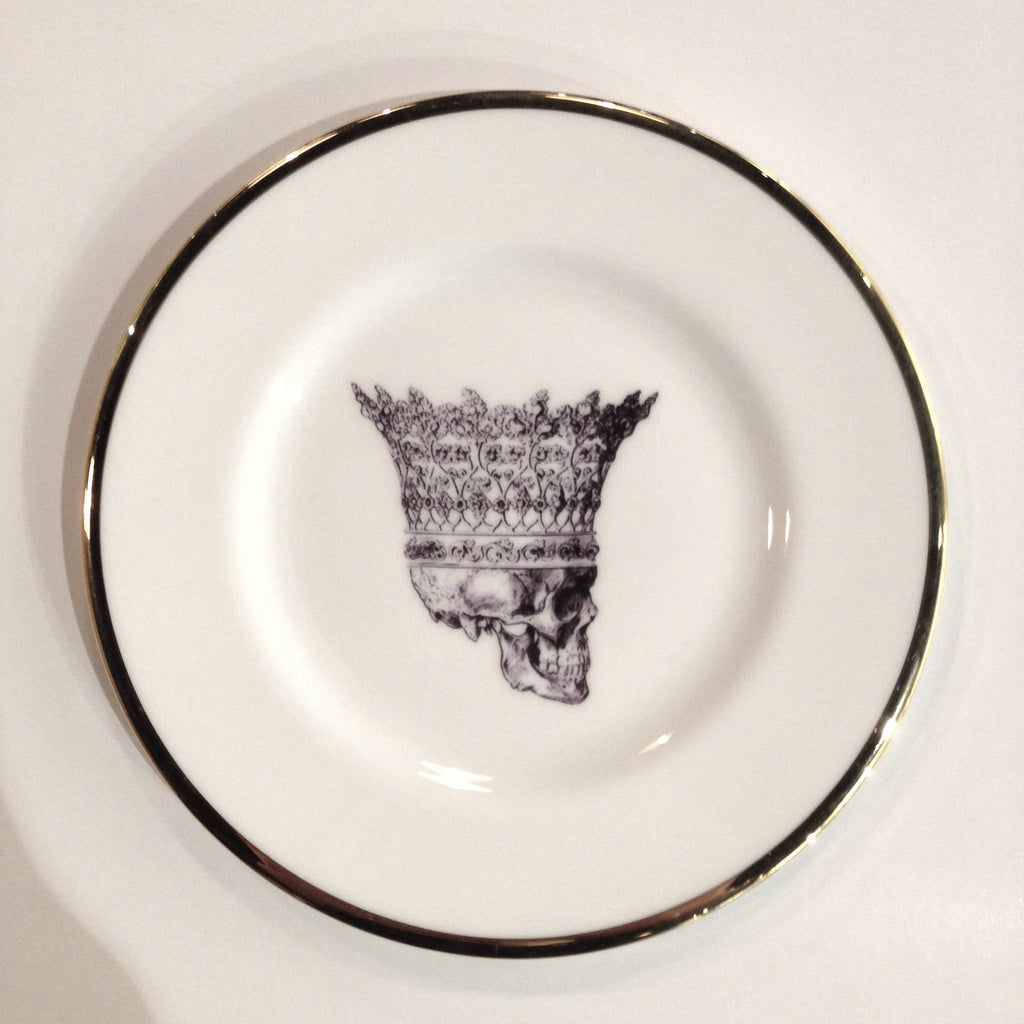 Skull in Crown Bone China Plate