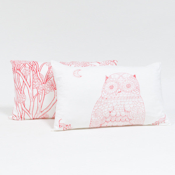 Red Owl Pillow Set - Red