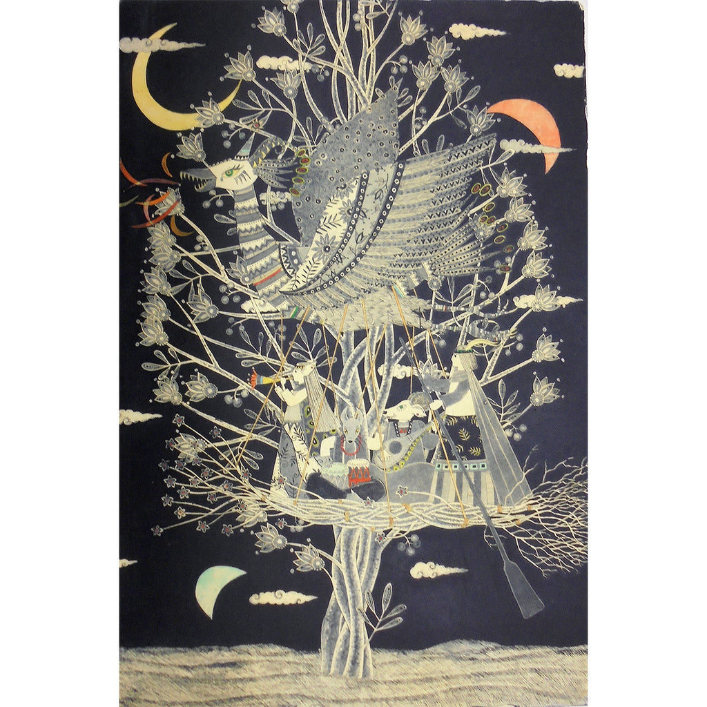Three of the Moon ,tree of wind and small boat