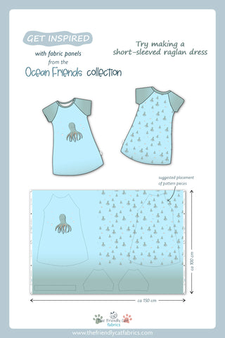 Get inspired to make a raglan dress with Oscar the Octopus big fabric panel