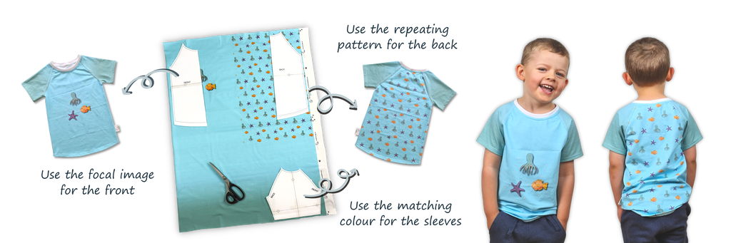 Inspiration for making a T-shirt with a small fabric panel from The Friendly Cat Fabrics