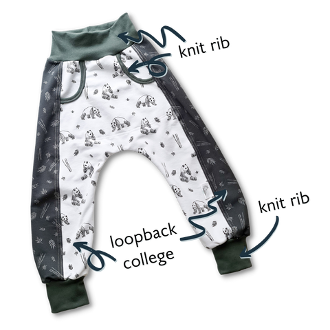 Fabric types used for sewing cool trousers with Pandas