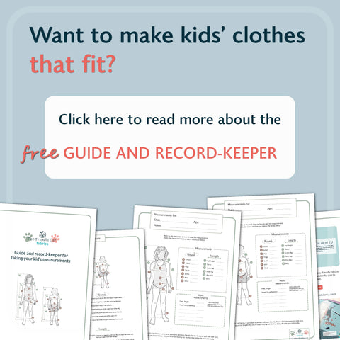 Get the free pdf guide and record-keeper for measuring your child when sewing clothes