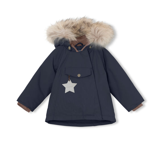 MINI A TURE Wang Fur Jacket in Blue Nights