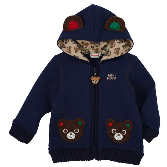 xMiki House Bear Hoodie Parka in Navy