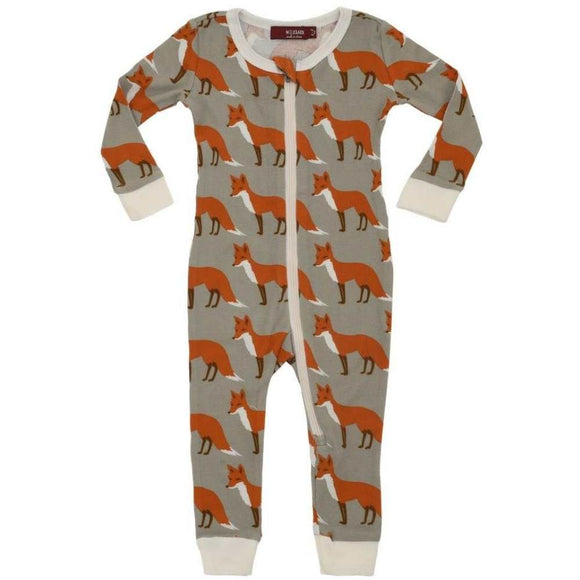 Milkbarn ZIPPER PAJAMA ORANGE FOX