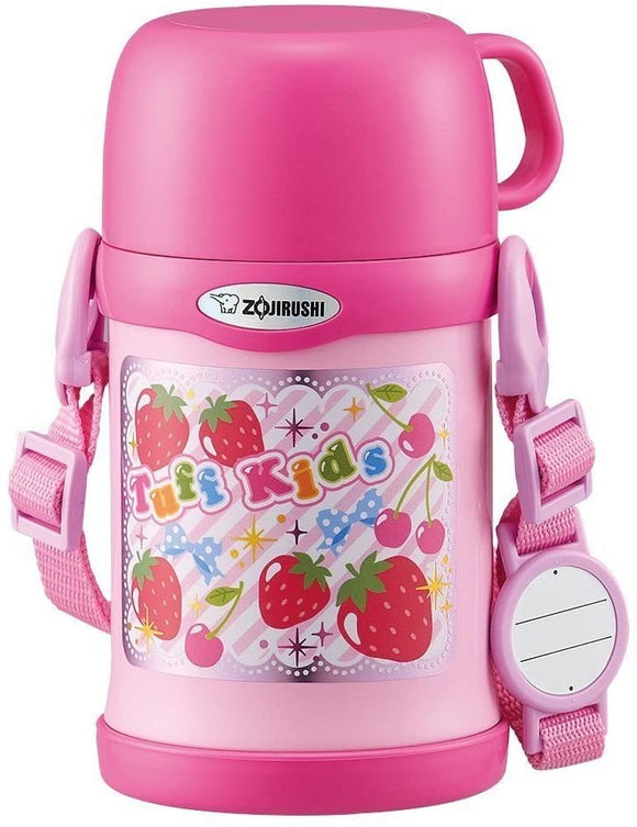 Zojirushi Kids Thermos Stainless Water Bottle 2-Way Cup and Straw 450ml Strawberry Pink