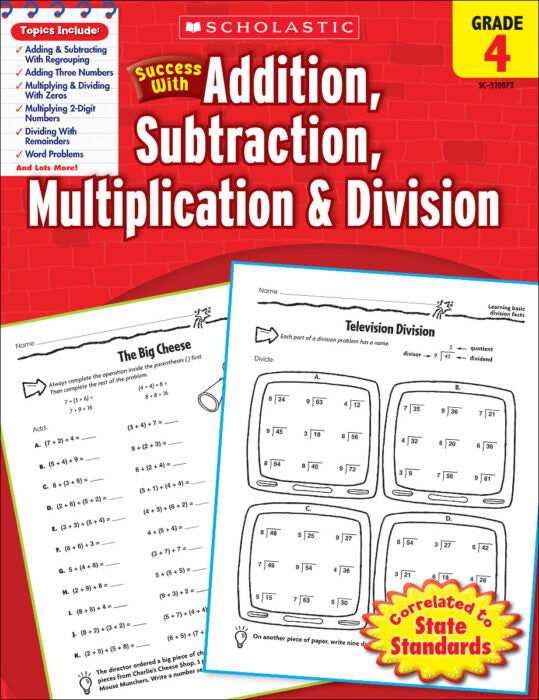 Scholastic Book - Addition, Subtraction, Multiplication & Division: Grade 4
