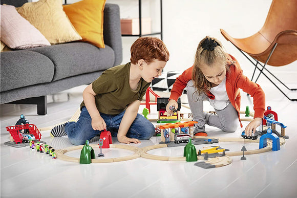 BRIO 33873 Smart Tech Engine Set with Action Tunnels | 17 Piece Train Toy with Accessories and Wooden Tracks 3+