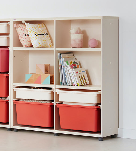 iloom 950W 3-Story Bookshelf (with 4 Storage Bins) more colors available