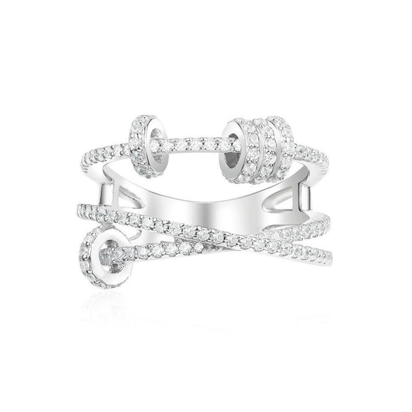 APM Triple Ring With Sliding Hoops - Silver
