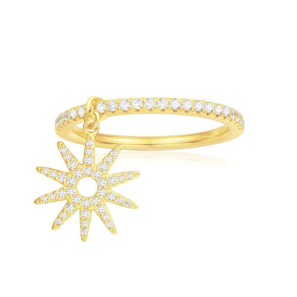 APM Paved Ring With Sun Pendant - Yellow Silver
