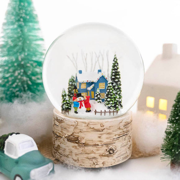 Blue House Christmas Snowglobe - 120mm