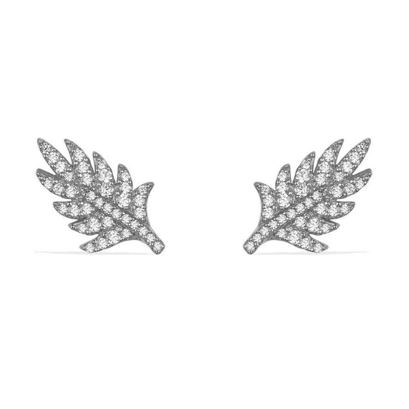 APM Dark Gray Silver 'Feather' Stud Earrings