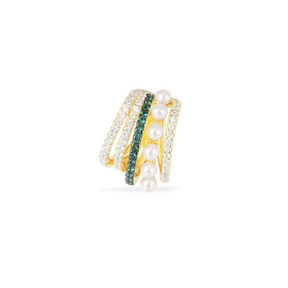 APM White & Green Five Hoop Sliding Mono Earring With Pearls - Yellow Silver