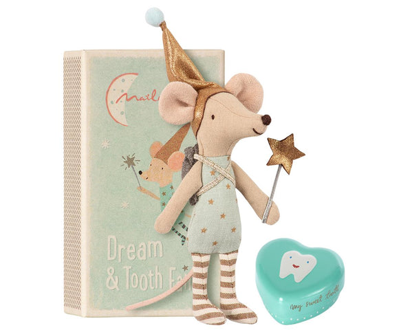 Maileg Tooth Fairy Big Brother Mouse w/ Metal Box