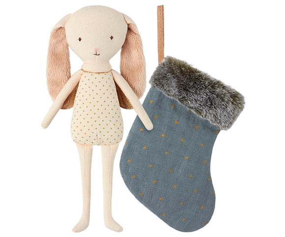 Maileg Bunny Angel in Stocking Blue