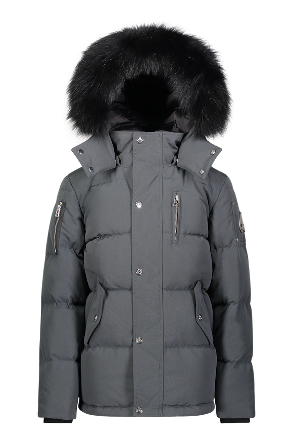 Moose Knuckles Kids Unisex 3Q Winter Jacket in Granite with Black Fox Fur