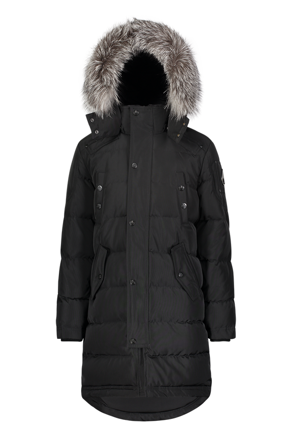 Moose Knuckles Kids Unisex Winter Jacket Parka in Black with Black/Frost Fox Fur
