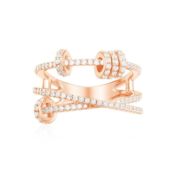 APM Triple Ring With Sliding Hoops - Pink Silver