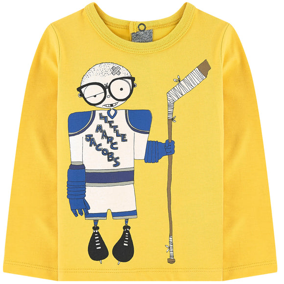 Little Marc Jacobs Unisex Long Sleeve Mr Marc Tee Shirt in Yellow W05178