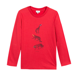 Paul Smith Boys Red Giraffe Leopard & Tiger Pili Top 5K10612-362