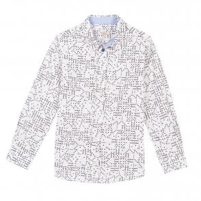 Paul Smith BOYS WHITE LONG SLEEVE SHIRT WITH DOODLE PRINT 5J12521 411