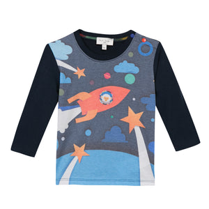 Paul Smith Babies 'Pasha' Monkey In A Rocket Print T-Shirt