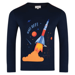 Paul Smith 5K10562-492 Boys Navy Blue T-Shirt With Blue Rocket, Flame Print And Zip Detailing